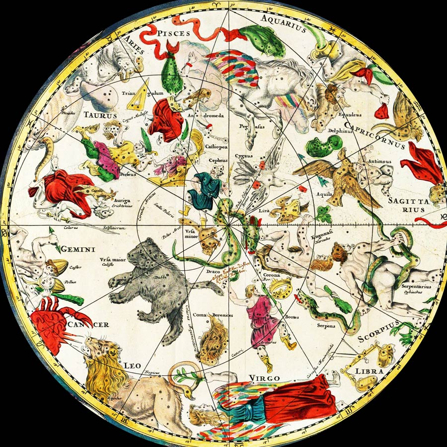 Carte des étoiles star map ancienne de Frederik de Wit en 1670 où les constellations sont représentées sous formes de figures mythologiques